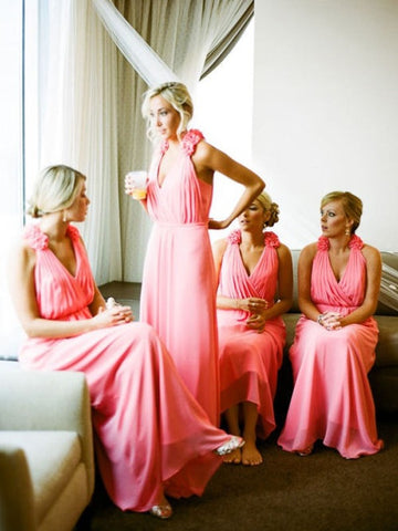 Chiffon V-neck Hand-Made Flower Bridesmaid Dress