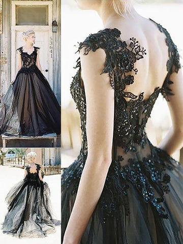 Black Sweetheart Lace Appliques Tulle Prom Dress