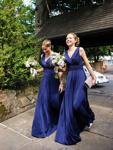 Blue V-neck Chiffon With Pleats Bridesmaid Dress