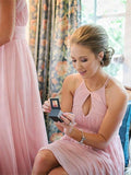 Pink Scoop Floor-Length Chiffon Bridesmaid Dress