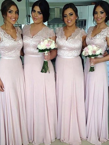 Pink Short Sleeves Long Chiffon Bridesmaid Dress