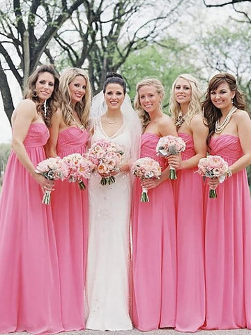 Princess Sweetheart Chiffon Pink Bridesmaid Dress