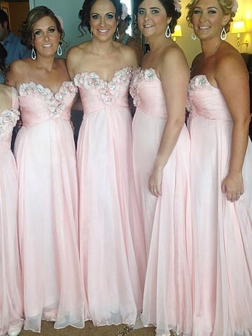 Pink Sweetheart Chiffon Floor-Length Bridesmaid Dress