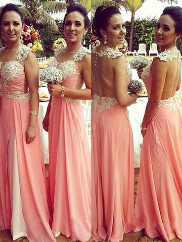 Princess Straps Long Chiffon Applique Bridesmaid Dress