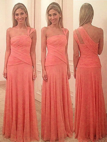 Sheath Column One-Shoulder Orange Chiffon Bridesmaid Dress