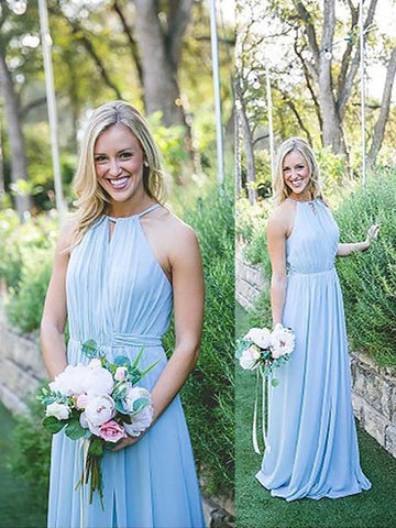 Ice Blue Sleeveless Halter Chiffon Long Bridesmaid Dress