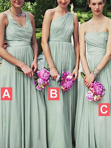 Princess Sage Chiffon Floor-Length Bridesmaid Dress