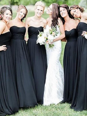 Black Princess  Sweetheart Chiffon Bridesmaid Dress