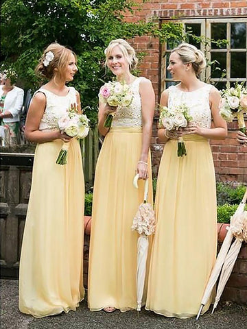 Scoop Sleeveless Chiffon Yellow Bridesmaid Dress