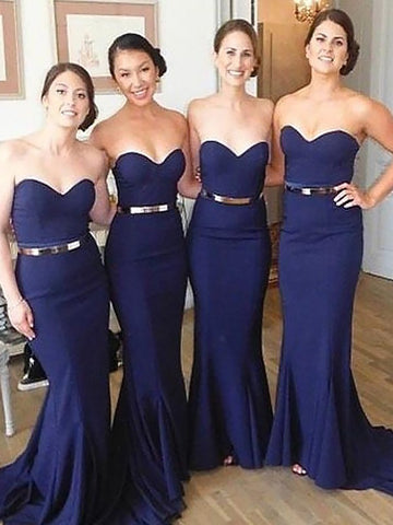 Mermaid Sweetheart Long Satin Bridesmaid Dresses