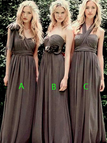 Princess Sleeveless Chiffon Long Bridesmaid Dress
