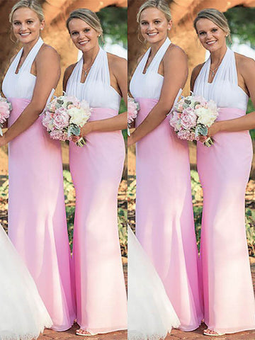 Sheath Column Halter Chiffon Pink Bridesmaid Dress
