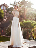 Halter Sleeveless Lace Chiffon White Prom Dress