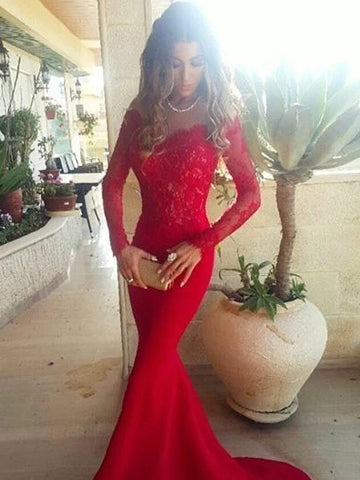 Red Long Sleeves Trumpet Mermaid Lace Prom Dress