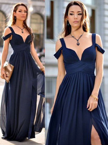 A-Line Chiffon Straps Long Ruffles Bridesmaid Dress