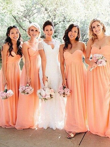 Coral Chiffon Sweetheart Ruched Bridesmaid Dress