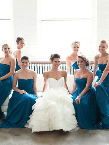 Chiffon Sweetheart Blue Ruched Bridesmaid Dress