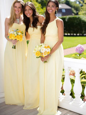 Chiffon Sweetheart Yellow Ruffles Bridesmaid Dress