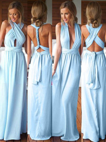 Chiffon Halter Blue Long Ruched Bridesmaid Dress