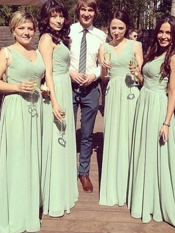 Chiffon V-neck Sage Ruched Bridesmaid Dress