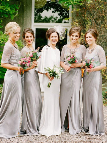Princess Silver Scoop 1/2 Sleeves Satin Bridesmaid Dress