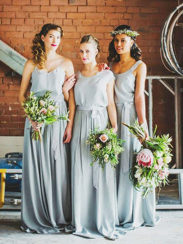 Sweetheart Silver With Ruffles Bridesmaid Dress