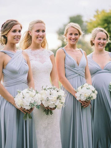 Halter Long Gray Chiffon Ruched Bridesmaid Dresses