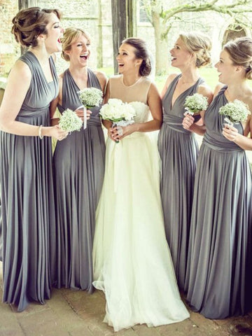 V-neck Gray With Ruffles Bridesmaid Dress