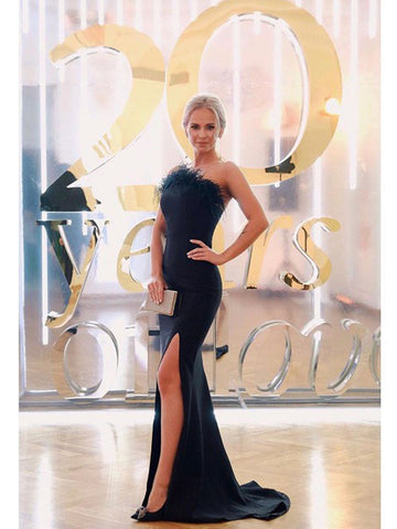 One Shoulder Black Feather Satin Prom Dress With Slit