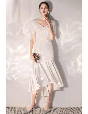 Vintage Satin Tea Length Short Sleeves Wedding Reception Dress