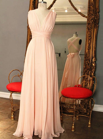 Pink V-Neck Floor Length Bridesmaid Dress with Bowknot