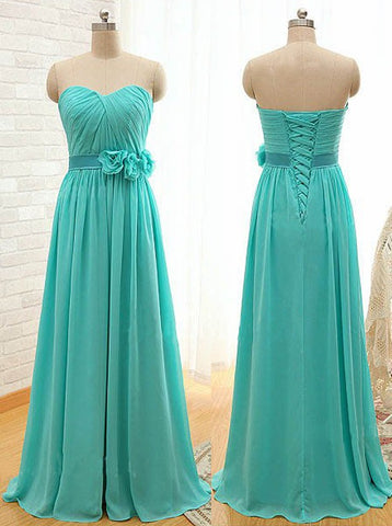 Classic A-Line Sweetheart Blue Bridesmaid Dress with Flower