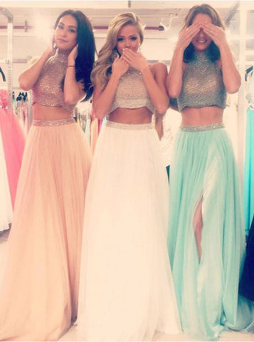 Two-pieces Beading Halter Neck Long Prom Dress