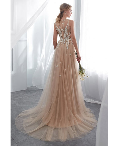 Lace Tulle Champagne Long Formal Dress With Modest High Neck
