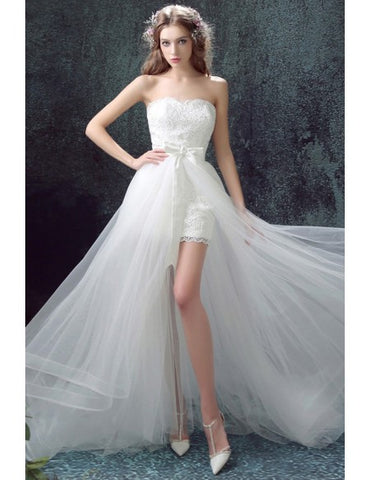 Strapless Long Detachable Skirt Lace Short Bridal Wedding Dress