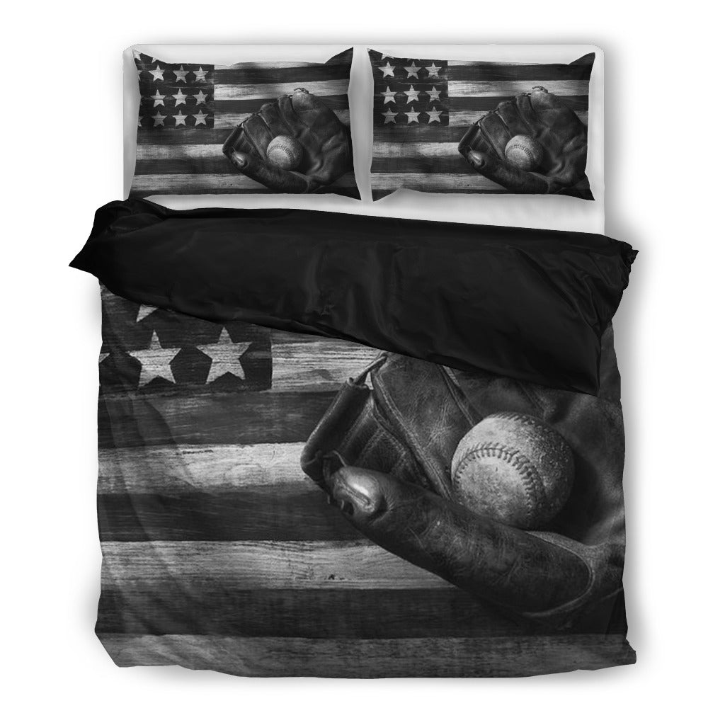 Finest CP - BASEBALL AMERICAN FLAG Black&White - Bedding sets | ZIPOLER FQ68