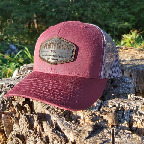 Leather Patch Snapback - Maroon/Charcoal