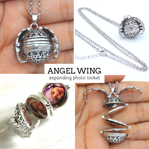 Expanding Photo Locket Necklace Pendant Angel Wing Gift