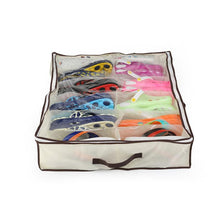 Load image into Gallery viewer, 12-Pair Under Bed Shoe Organizer Storage Boxes & Bins