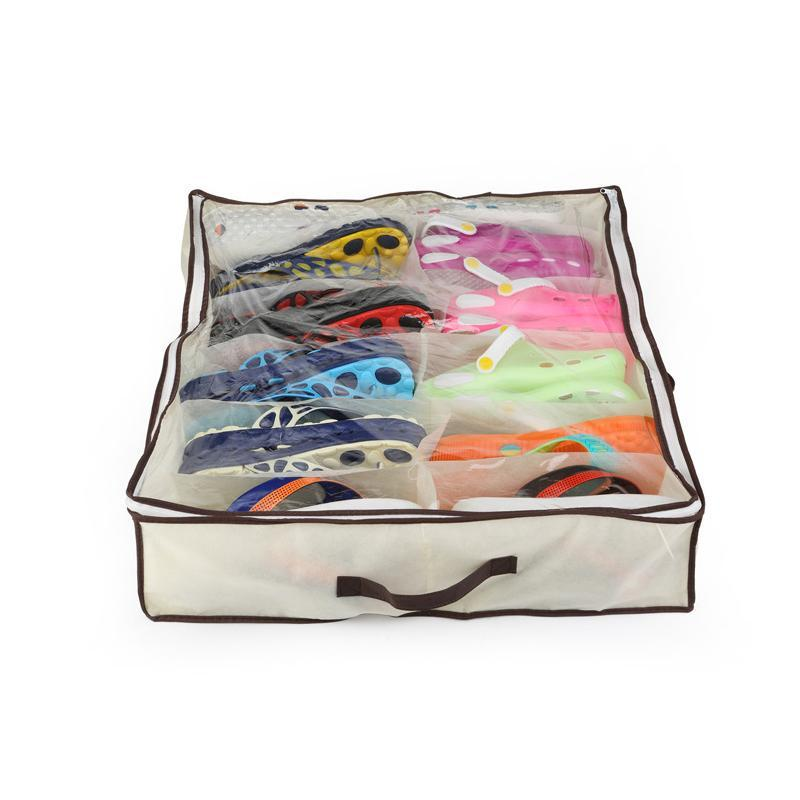 12-Pair Under Bed Shoe Organizer Storage Boxes & Bins