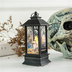 1PC Mini Simulated Halloween Series Candle LED Flame Light Outdoor Hanging Lantern Lamp for Home Bar Tabletop Decoration C / China Holiday Lighting
