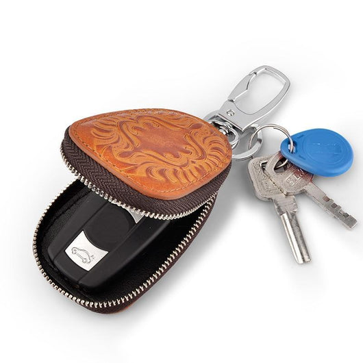 2in1 Leather Exclusive Car Key Holder Brown Key Wallets