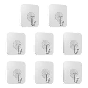 8 PCS Four leaf Clover Reusable Self Adhesive Hooks Heavy Duty Waterproof Wall Hanger for Door Bathroom and Kitchen clear Hooks & Rails