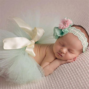 Adorable Skirt & Headband Set Green Headbands & Skirt