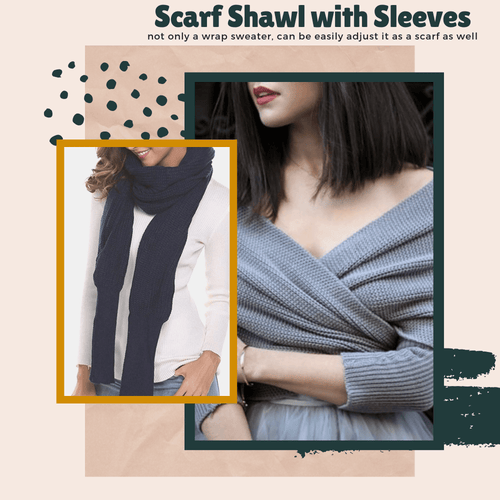 Autumn & Winter Fashion - Shawl Scarf With Sleeves Gray Women's Scarves