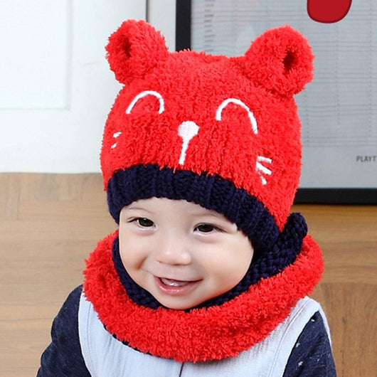 Baby Love - Warm Scarf and Beanie Set Red Hats & Caps