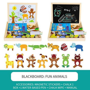 Baby Magnetic puzzle 3D Wooden human face animals p princess dressup wood kids educational development toys 1 3 years old Puzzles