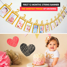 Load image into Gallery viewer, Baby's 1st Birthday Photo Frame Gold Photo Frame