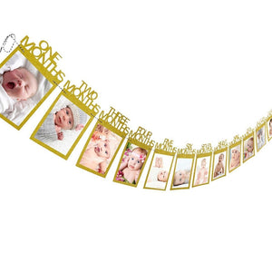 Baby's 1st Birthday Photo Frame Gold Month Photo Frame