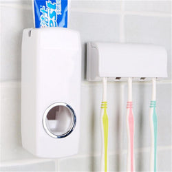 Bathroom Accessories Sets Automatic Toothpaste Dispenser + 5 Toothbrush Holder